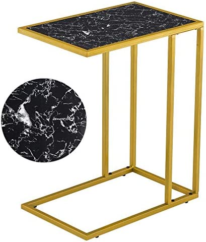SoSo-BanTian1989 Reclaimed Wood Marble Look Finish Snack Side End Table Black Gold
