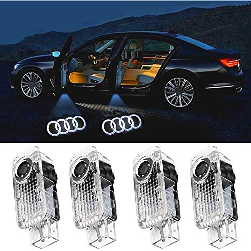 Car LED Door Light Logo Ghost Shadow Projector Laser Welcome Lights Symbol Emblem Courtesy Step Lights Ground Lamp Kit for Audi Series (4 Pack)