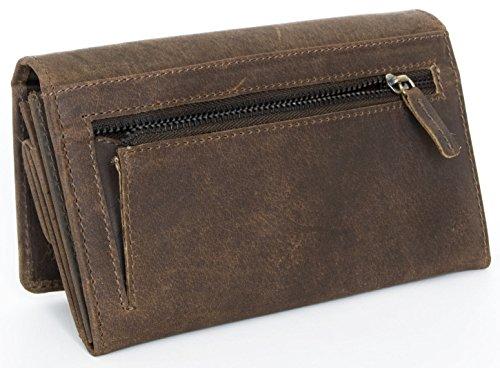 Brieftasche Portemonnaie Damen Dunkekbraunes Naturleder ...