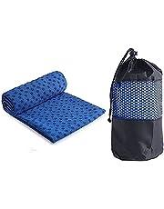 Ivy Yoga handduk halkfri – mikrofiber yoga handduk snabbtorkande – yogahandduk halkfri idealisk för matta, het yoga, 183 x 61 cm, blå – bärbar vikbar yogamatta handduk