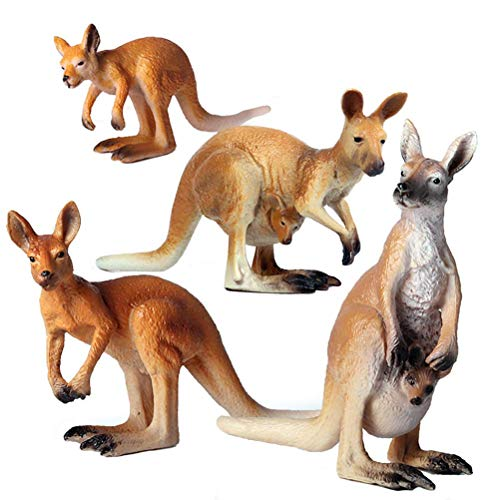 HOMNIVE Animal Figures - 4pcs Realistic Kangaroos Action Model - Plastic Wild Animal Learning Party Favors Toys - Educational Forest Farm Toys Birthday Cupcake Topper for Boys Girls Kids Toddlers