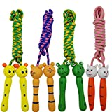 SACKORANGE Jump Rope with Wood Handles for Kids – Great for Outdoor Fun Activity,Party Favor, Recreation and fitness – Set of 4 (Color random) Review