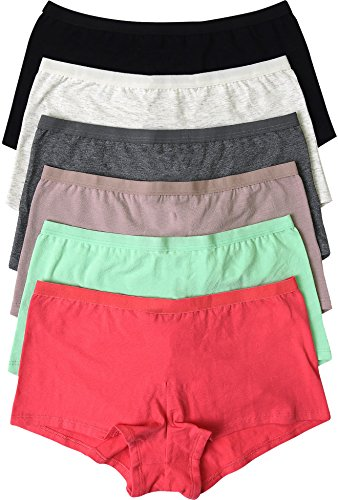 ToBeInStyle Women's Pack of 6 Plain Cotton-Blend Boyshort Panties - Small