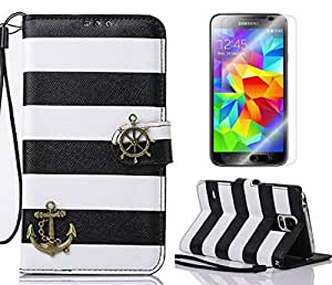 ArtMine Pirate Ship Mark Article Rainbow Leather for Samsung Galaxy S5 SV i9600 case -Black and White.