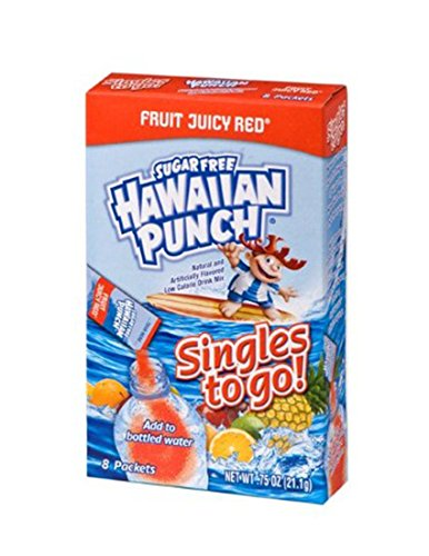 Red Fruit Punch - Hawaiian Punch Singles To Go Powder Packets, Water Drink Mix, Fruit Juicy Red, 8 Count per pack, Pack of 12