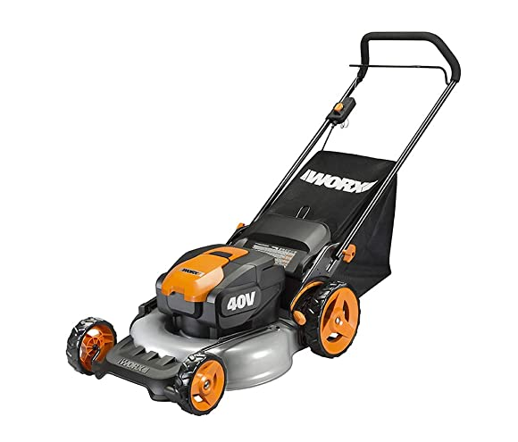WORX WG751 40V Power Share 5.0 Ah 20 Lawn Mower w Mulching and Side Discharge Capabilities 2x20V Batteries