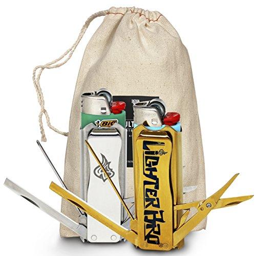 LighterBro Multitool Lighter Sleeve 2-pack Bundle Silver Icon Steel + Titanium Gold Lighter Sleeve Gift Set, Cool Gadgets for Men