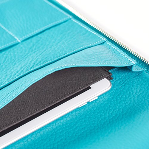 Leatherology Left Handed Executive Zippered Portfolio - Full Grain Leather Leather - Teal (Blue) by Leatherology (Image #3)