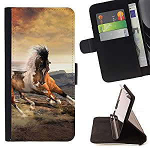For Sony Xperia M5 Mustang Horse Clouds Galloping Spots Style PU Leather Case Wallet Flip Stand Flap Closure Cover
