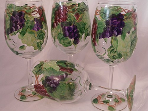 Hand painted multi grape goblets. Set of (Green Painted Base)