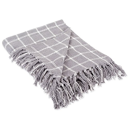 DII 100% Cotton Checked Throw for Indoor/Outdoor Use Camping Bbqs Beaches Everyday Blanket, 50 x 60, Gray