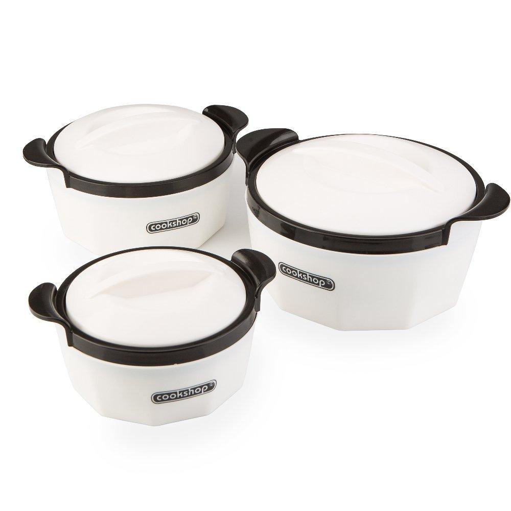 Cookshop Set of 3 Fiona Insulated Dishes, White: Amazon.co.uk ...