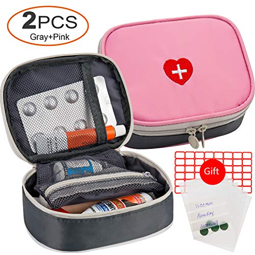 2pcs Portable Mini First Aid Kit, Multifunction Travel Medicine Storage Bag Emergency Kit for Outdoor Sports Home Office Camping Hiking Cycling - Just Empty Medicine Pouch (Pink and Gray)