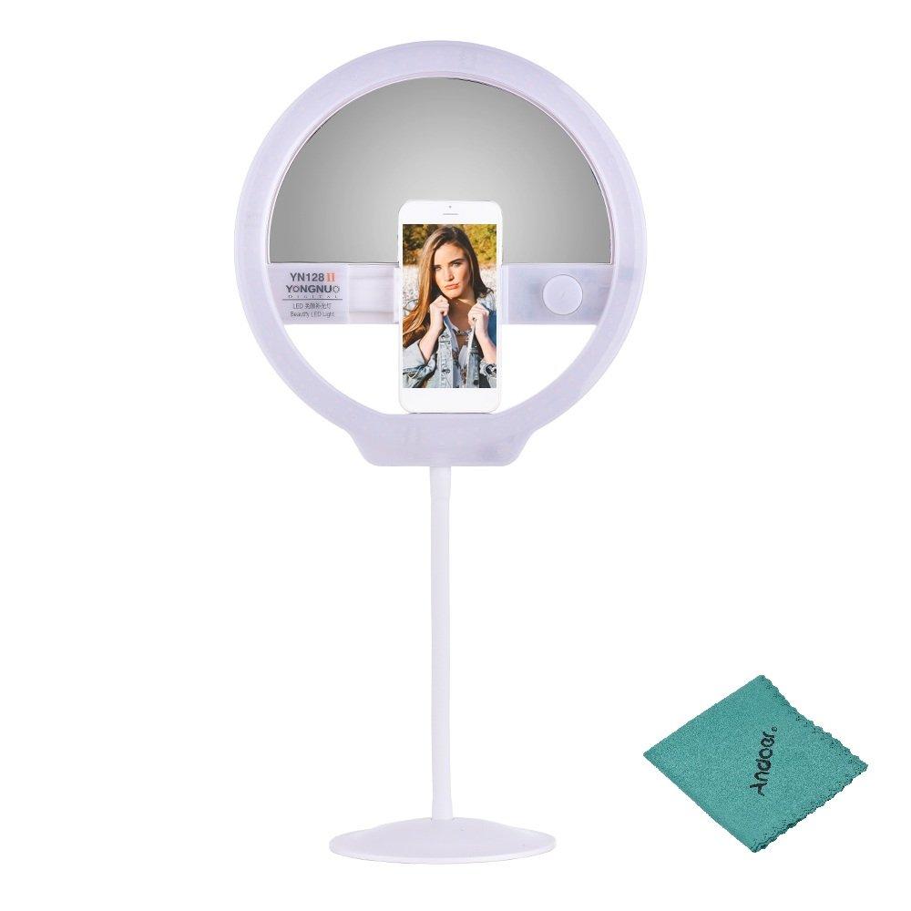 YONGNUO YN128II Bi-Color Beautify LED Ring Video Light 3200K-5500K Photography Dimmable Ring Lamp CRI95+ for iPhone HUAWEI SAMSUNG XIAOMI Smartphone