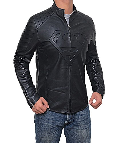 Mens Black Superman Leather Slim Fit Jacket (Superman Jacket, XL) by Decrum (Image #1)'