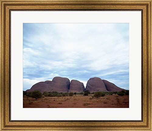 - Rock Formations on a Landscape, Olgas, Uluru-Kata Tjuta National Park, Northern Territory, Australia Framed Art Print Wall Picture, Wide Gold Frame, 28 x 24 inches
