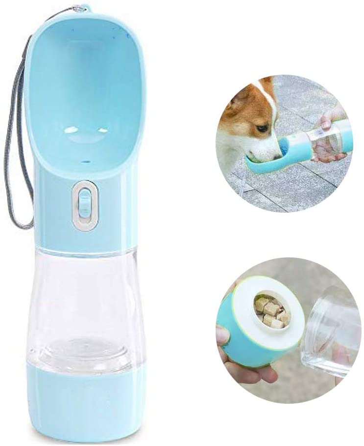 MAOCG Dog Water Bottle for Walking, Multifunctional and Portable Dog Travel Water Dispenser with Food Container,Detachable Design Combo Cup for Drinking and Eating,Suitable for Cats and Puppy