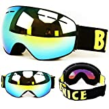 Snow Skiing Snowboarding Goggles, Detachable Anti fog lenses 100% UV protection, Unisex Outdoor Windproof Ski Goggles
