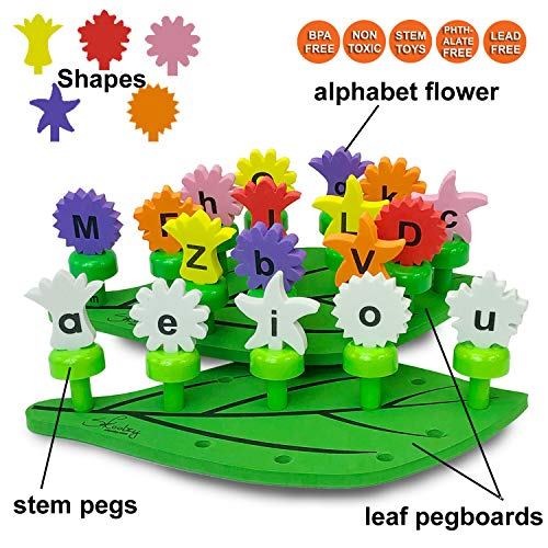 Skoolzy Alphabet Learning Toys Peg Board Set - Flower Garden Building Toys - ABC Puzzle Educational Toy for Toddlers, Preschool - Montessori Alphabet Letters Fine Motor Skills Ages 3+ (58pc)