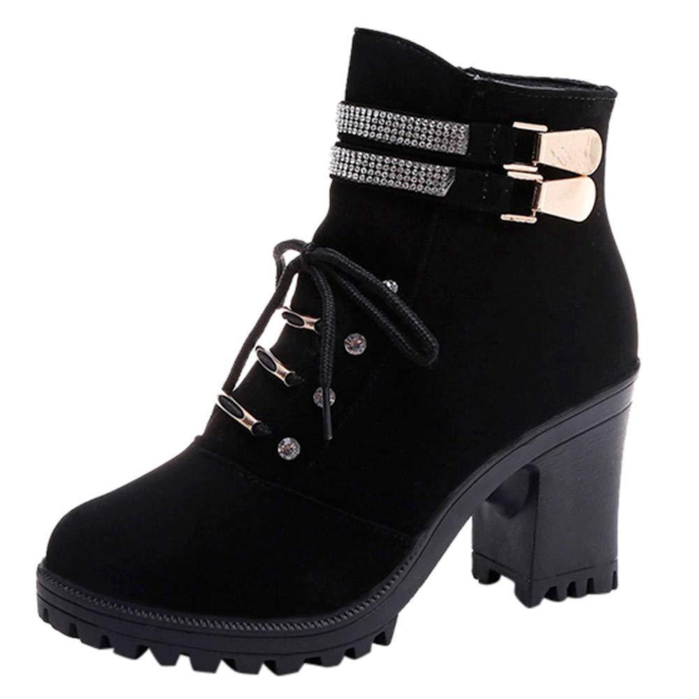 ❤️ Botas de tacón Alto de Invierno para Mujer, Zapatos de Moda Martain Boot Zipper de Cuero Color sólido Punta Redonda Zapatos Absolute