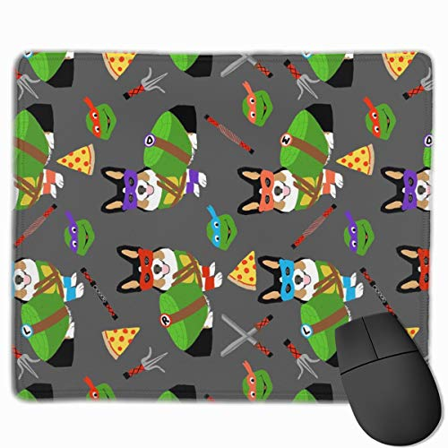 Tri Corgi Ninja Turtle - Dog, Dogs, Cartoon, Costume, Halloween - Charcoal Mousepad 18x22 cm