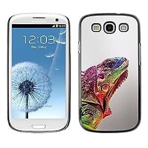 Caucho caso de Shell duro de la cubierta de accesorios de protección BY RAYDREAMMM - Samsung Galaxy S3 I9300 - Blurry Lizard Exotic