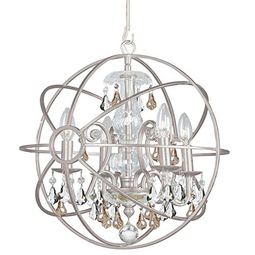 - Crystorama 9025-OS-GS-MWP Crystal Accents Four Light Mini Chandelier from Solaris collection in Pwt, Nckl, B/S, Slvr.finish,