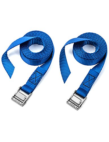 (Two Pack of Premium Lashing Straps by Vault - 8 Ft Long – Rated 250 Lbs - Tie Down Strap for Kayaks Carriers, Moving Canoes, Roof Racks - Great Accessory to Ratchet Tie-Downs Battery Strap Marine)