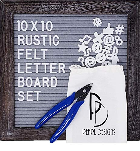 Rustic Felt Letter Board Set, Gray Felt and Grey Wood Frame with Stand and Wall Hanger, 346 White Characters, Clippers, Canvas Storage Bag (10x10 - Pearl Felt