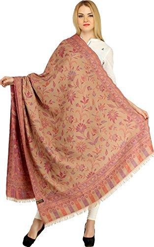Exotic India Reversible Jamawar Shawl from Amritsar wit - Color Grape - India Nectar