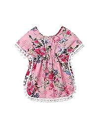 CQHY MALL Kids Baby Girls Swimming Cover-Up Beach Sundress Summer Tassel Pompom Poncho Cover Up