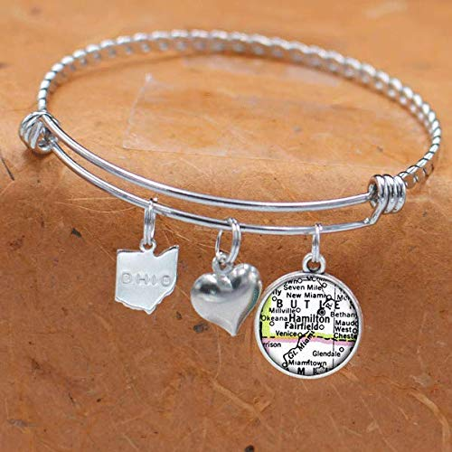 Ohio Map Bracelet Hamilton, Fairfield OH USA States Cities Towns Vintage Map Jewelry]()