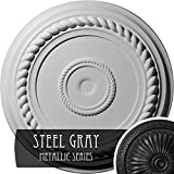 Ekena Millwork CM18ALSGS Alexandria Rope Ceiling Medallion, Steel Gray