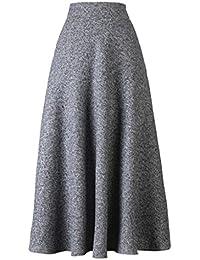 Choies Women's High Waist A-line Flared Long Skirt Winter...