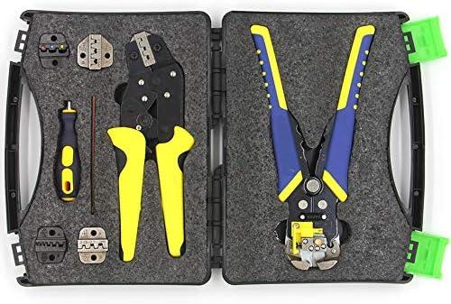 4つの交換可能なダイスとの圧着ツールキット、マルチツールワイヤークリンパと自動調整ワイヤーストリッパーツール、圧着工具ケーブルワイヤ端子