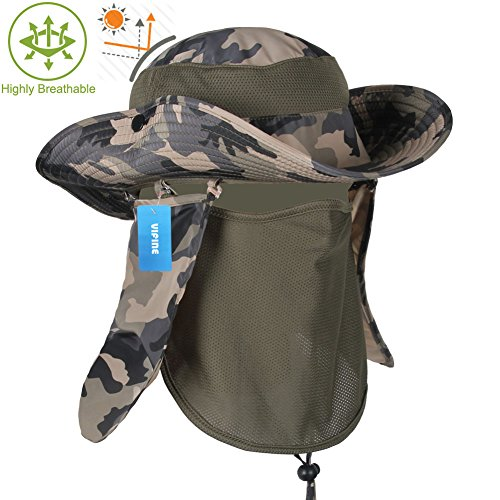 VIFINE Sun Cap Fishing Hat For Men Women, Sun Hat Wide Brim, Sun Protection With Removable Neck Flap, Face Cover Mask, Military Boonie Hat for Outdoor Sports & Travel