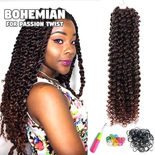 6Pcs Passion Twist Hair Ombre Brown 18 Inch Long Bohemian Braids for Passion Twist Crochet Braiding Hair Hot Water Setting Itch Free Synthetic Fiber Natural Hair Extension (18, T30)