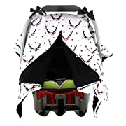Dear Baby Gear Carseat Canopy, Antlers Floral on White, Black Minky