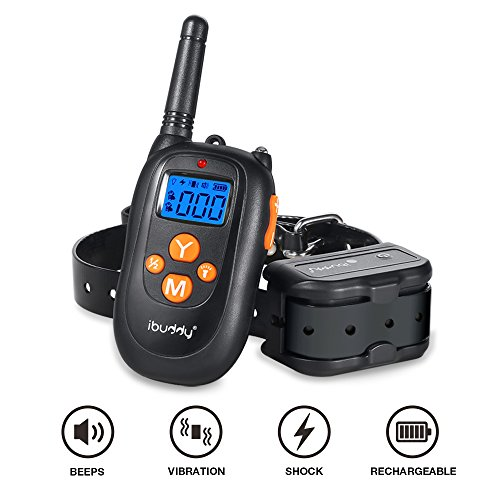 iBuddy Dog Training Collars with Remote for Small/Medium/Large Dogs, 1000ft Range 100% Waterproof Rechargeable Shock Collar of Dogs with Beep, Vibration and Shock Modes Electric Dog Shock Collar
