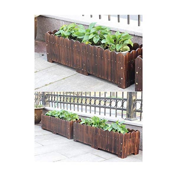 HEMFV Legno Planter Box, Forma for Il Giardino, Patio o Finestra Esterna Vaso di Fiori di impianto di Sicurezza 3 spesavip