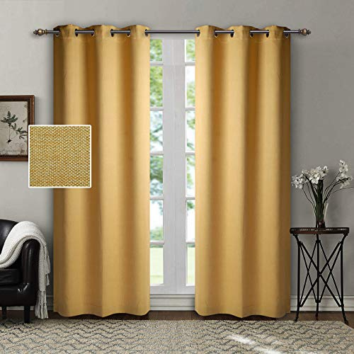 SINGINGLORY Yellow Blackout Curtains, Linen Textured Thermal