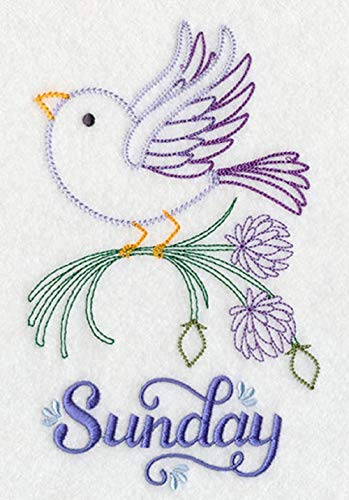 Embroidered Flour Sack Towels Days of the Week Whimsical Bird and Herb Designs Set of 7
