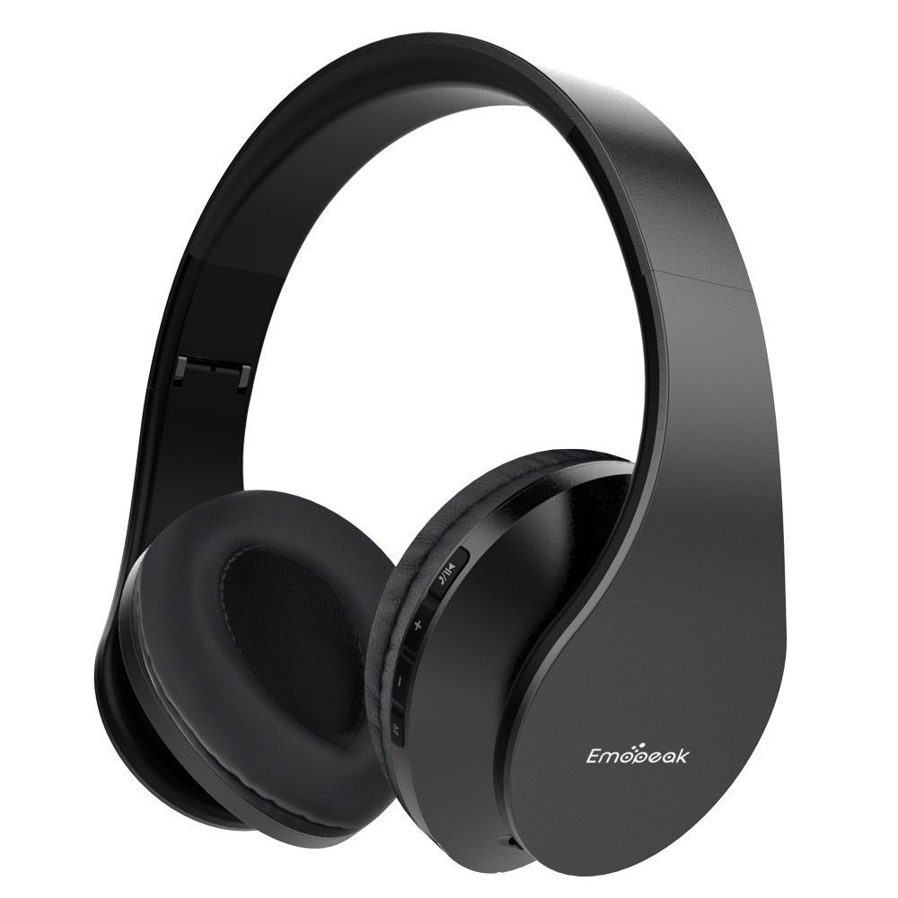 Emopeak Wireless Stereo Headsets Bluetooth Headphones Over Ear, Q1 Hi-Fi Stereo Headset,Soft Memory-Protein Earmuffs, Foldable, Built-in Microphone and Wired Mode for PC/Cell Phones/TV (Blac)
