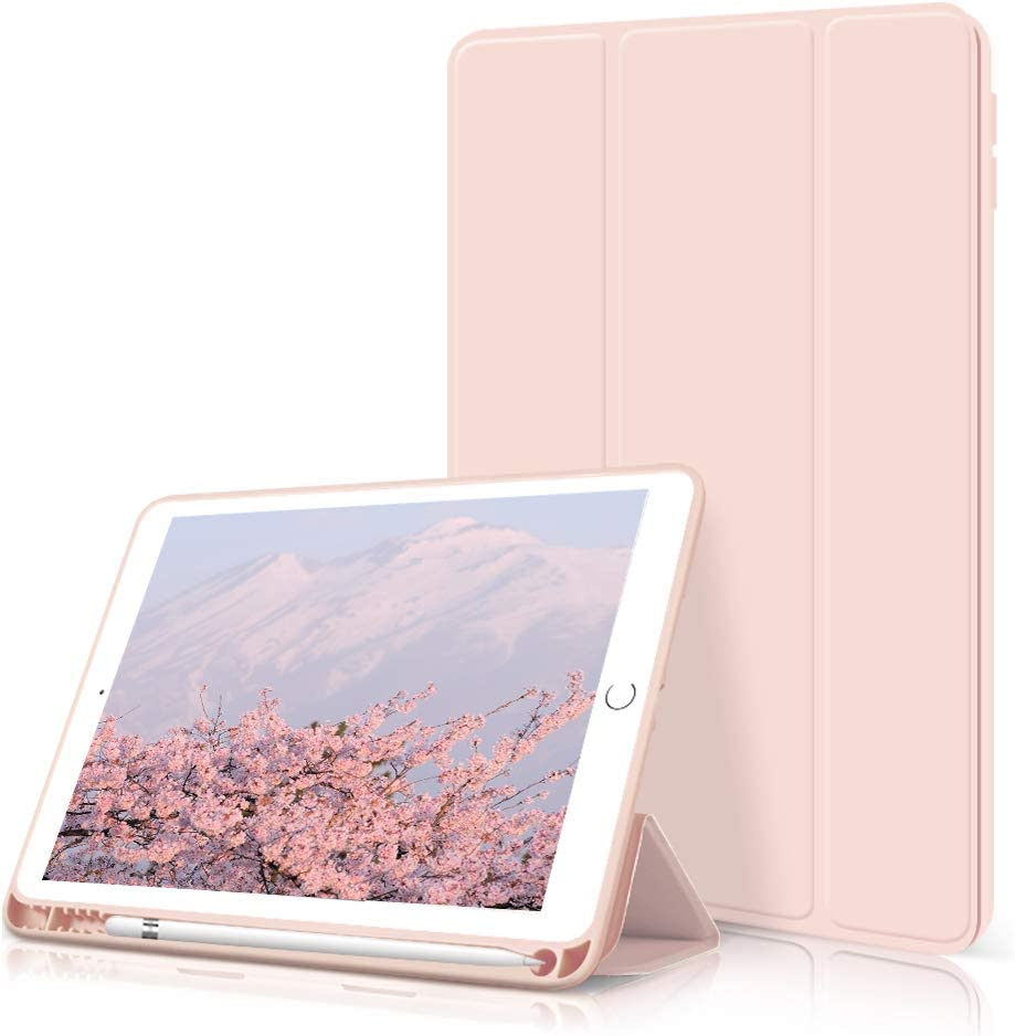 kenke ipad 9.7 2018/2017 Case with Pencil Holder,Auto Wake/Sleep Smart Cover with Trifolding Stand,Shockproof Soft TPU Back Cover for ipad 9.7 inch 6th/5th Generation,Pink