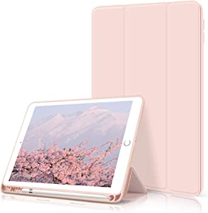 kenke ipad 9.7 2018/2017 Case with Pencil Holder,Auto Wake/Sleep Smart Cover with Trifolding Stand,Shockproof Soft TPU Back Cover for ipad 9.7 inch 6th/5th Generation-Pink
