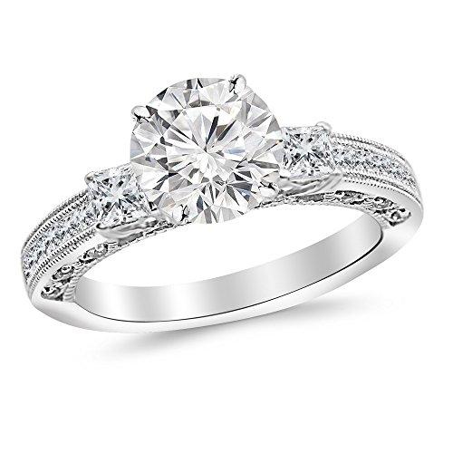 1.25 Ct Past Present - 1.25 Carat Platinum Past Present Future 3 Stone Princess Cut Channel Set GIA Certified Round Cut Diamond Engagement Ring (0.75 Ct G Color VS1 Clarity Center Stone)