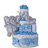 Diaper Cake - Elephant Friends Boy Theme Handmade By Lil Baby Cakes - Baby Boy Gift - Makes a Great Baby Shower Centerpiece