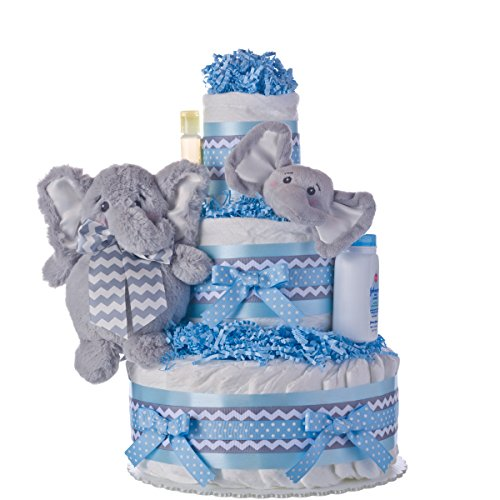 Diaper Cake - Elephant Friends Boy Theme Handmade By Lil Baby Cakes - Baby Boy Gift - Makes a Great Baby Shower Centerpiece by Lil' Baby Cakes
