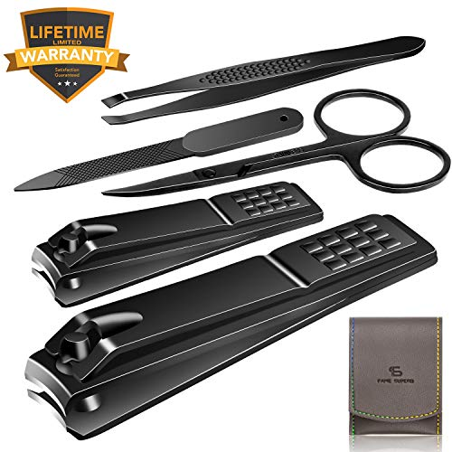 (Nail Clippers Set Stainless Steel Nail Cutter Pedicure Kit 5 Piece Nail File Sharp Nail Scissors Manicure Fingernails & Toenails with Portable Travel Case (Black_A))