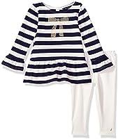 Nautica bebé niñas Leggings de dos piezas conjuntos, Foil Navy, 18 meses